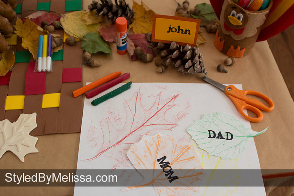 A Thanksgiving Kids Table - Making Place Card Holders