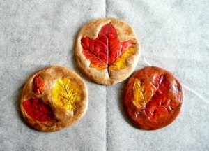 salt dough leaf impressions