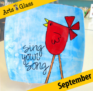 Adult Painting Class: Sing Your Song Bird Sushi Plates @ Arts and Glass