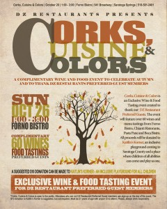 3rd Annual Corks, Cuisine & Colors Wine & Food Tasting Event @ Forno Bistro | Saratoga Springs | New York | United States
