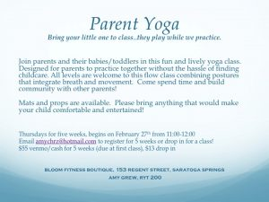 Parent Yoga @ Bloom Fitness | Saratoga Springs | New York | United States